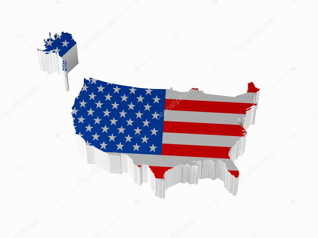 Map of the United States on a white background. High resolution image. 3d rendered illustration.  Photo #4354276