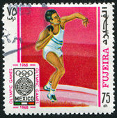 Stamp printed by Fujeira — Stock Photo