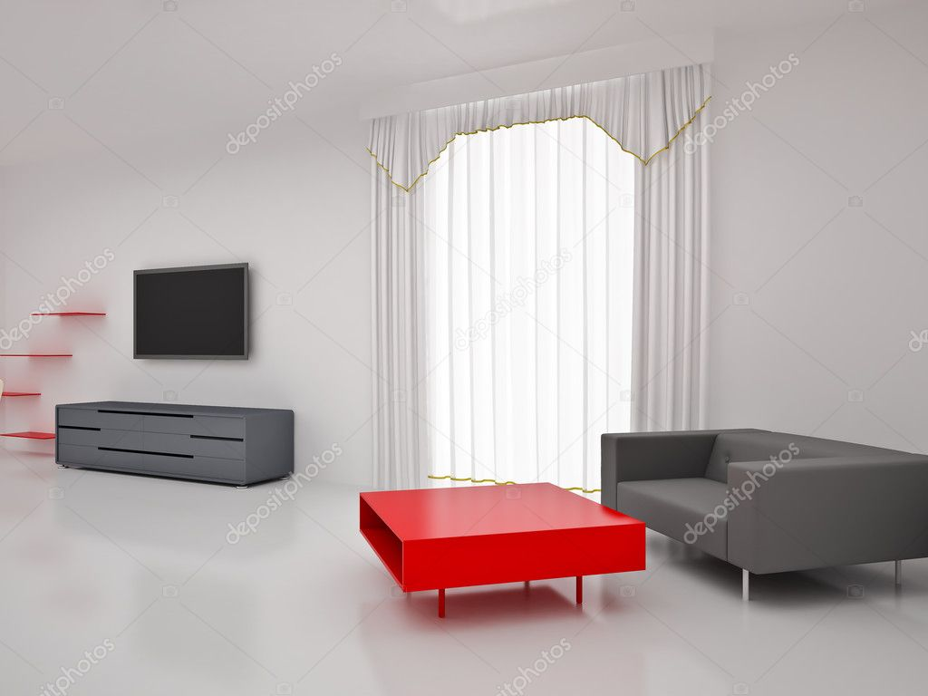 Modern TV in room. Interior of the modern room. High resolution image. 3d rendered illustration. — Stock Photo #4643861