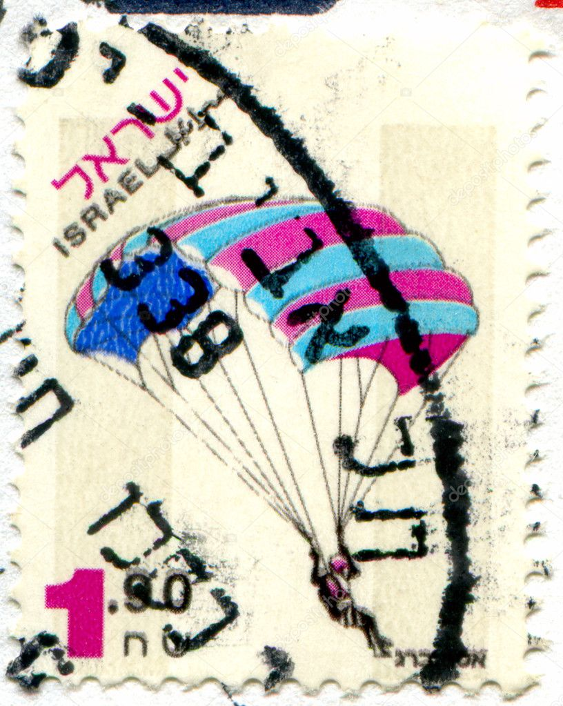 ISRAEL - CIRCA 1980: stamp printed by Israel, shows parachuting, circa 1980 — Stock Photo #5153034