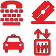 Red icons set twenty five — Stock Vector
