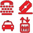Red icons set twenty five — Stock Vector