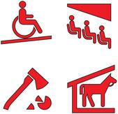 Red icons set twenty eight — Stock Vector