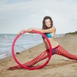Leg spolit with red Hula hoop — Stock Photo
