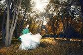 Dance in the golden forest — Stock Photo