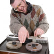 Silly nerd as a dj — Stockfoto