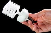 Poupança de energia lâmpada na mão — Fotografia Stock