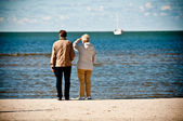 Elderly couple on seashore looking boat at the sea — Stock Photo