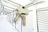 Unidades de armazenamento auto com chaves — Fotografia Stock