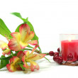 Alstroemeria and candle — Stock Photo