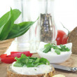 Stock Photo: Cottage cheese bread with wild garlic