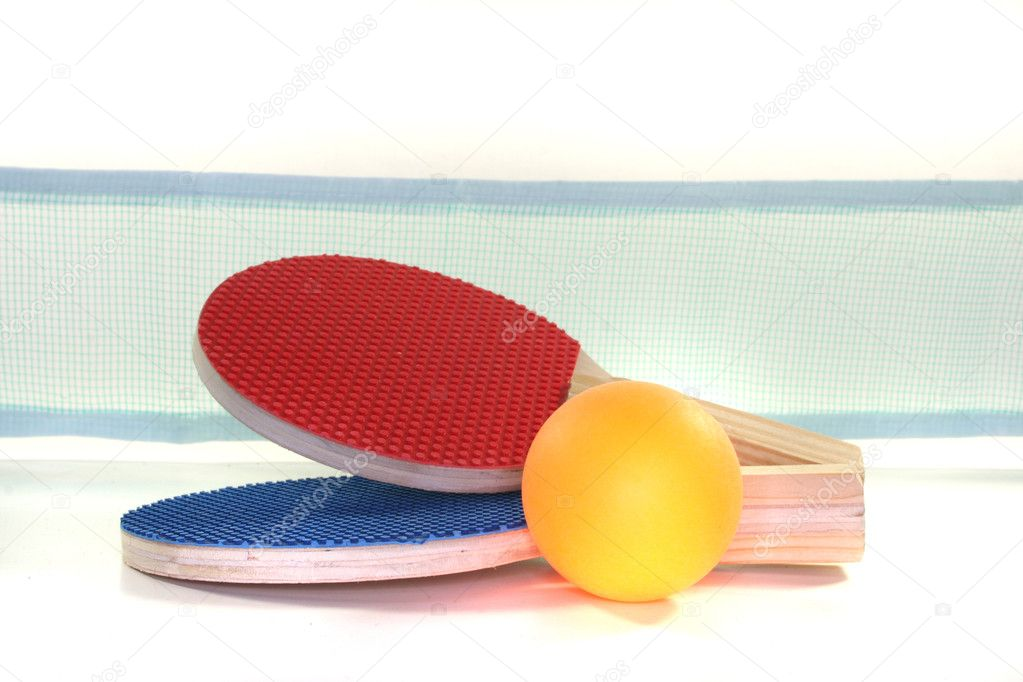 Two Table tennis racket and ball on a white background — Stock Photo #2997818