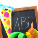 School cones with School board — Stock Photo