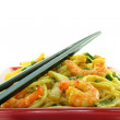 Royalty-Free Stock Photo: Pasta with asian shrimp