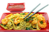 Pasta with asian shrimp — Stock Photo