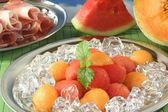 Melon with ham — Stock Photo