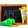 Blackboard with school cone — Stock Photo