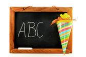 Blackboard with school cone — Stock Photo