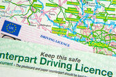 Driving Licence on Map — Stock Photo