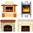 Stock Vector: Fireplace set