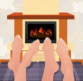Warming feet — Stock Vector