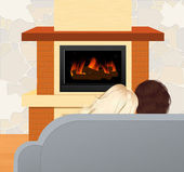 Couple sitting in front of fireplace — Stock Vector