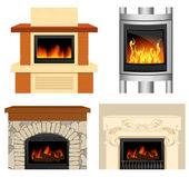 Fireplace set — Stock Vector