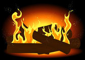 Fire in the fireplace — Stock Vector