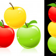 Apples three different colors — Stock Vector
