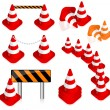 Stock Vector: Traffic cone set