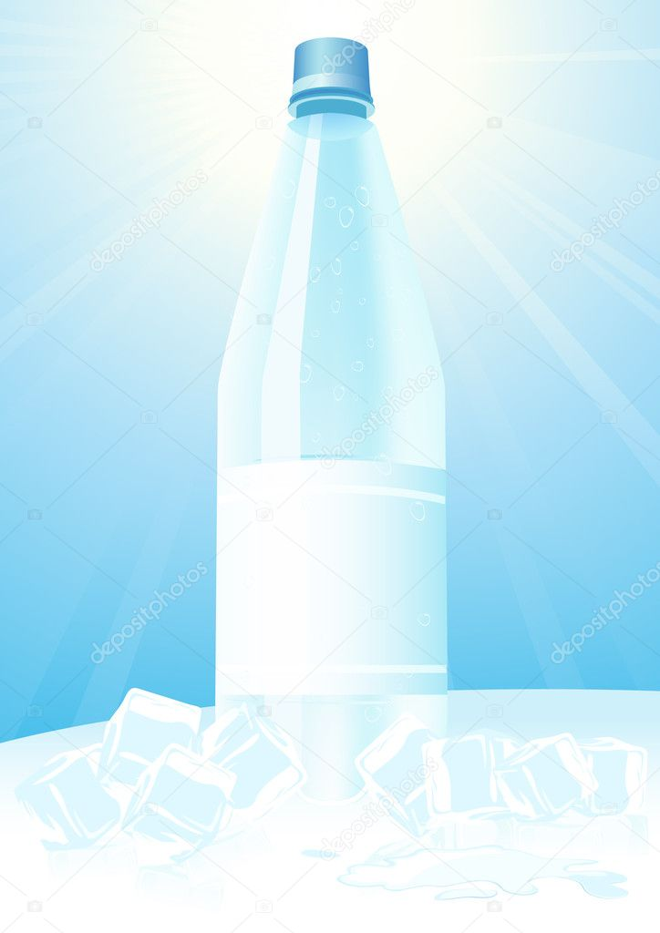 Mineral water and ice vector illustration — Stock Vector #3108669