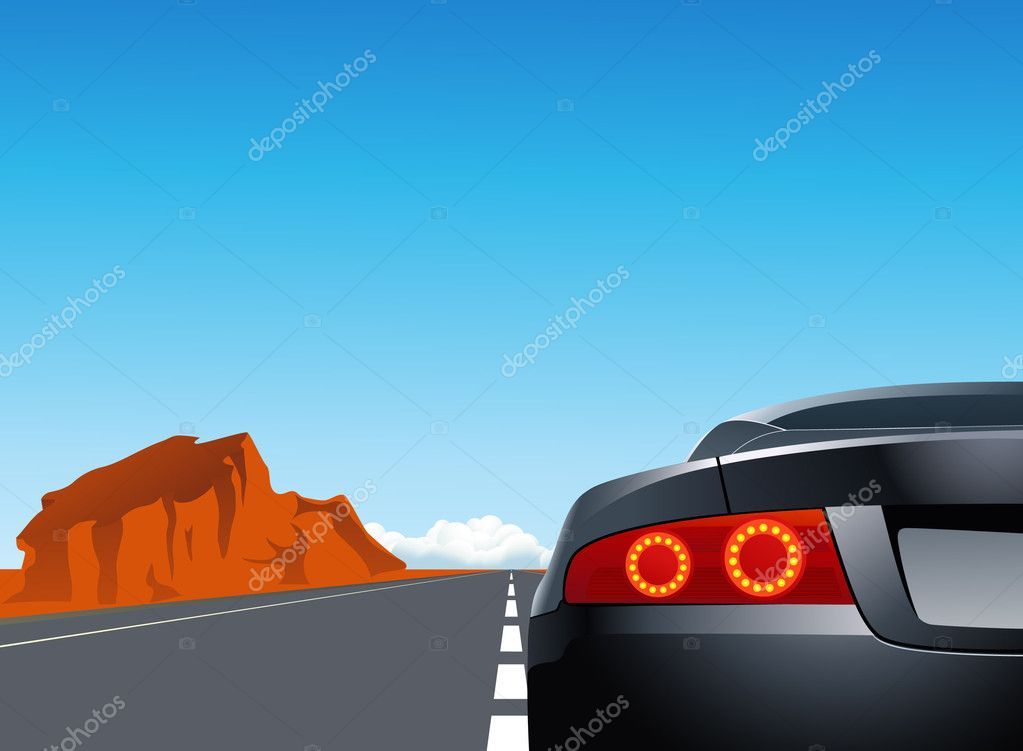 Trip with sport car, vector illustration  Stock Vector #3116167
