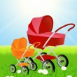 Baby carriages on beautiful summer field — Stock Vector