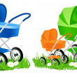 Colored baby carriages — Stock Vector