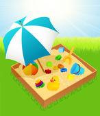 Sandbox with umbrella — Stock Vector
