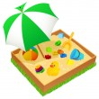 Sandbox with umbrella isolated — Stock Vector #3184944