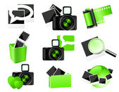 Green photo icons — Stock Vector