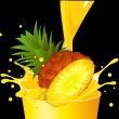Pineapple falling in juice — Stock Vector
