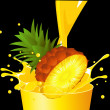 Stock Vector: Pineapple falling in juice