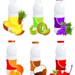 Stock Vector: Fruit juice bottles