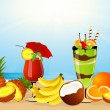 Fruits on the beach - Stock Vector
