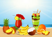 Fruits on the beach — Stock Vector