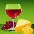 Wine and cheese — Stock Vector