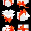 Present boxes with red bow — Imagen vectorial