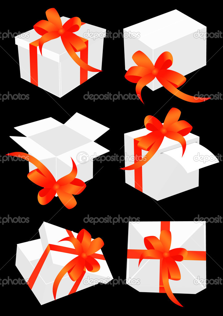 Present boxes with red bow, vector illustration — Stock Vector #3522479