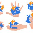 Puzzle in hands — Stock Vector
