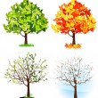 Vector de stock : Four season trees