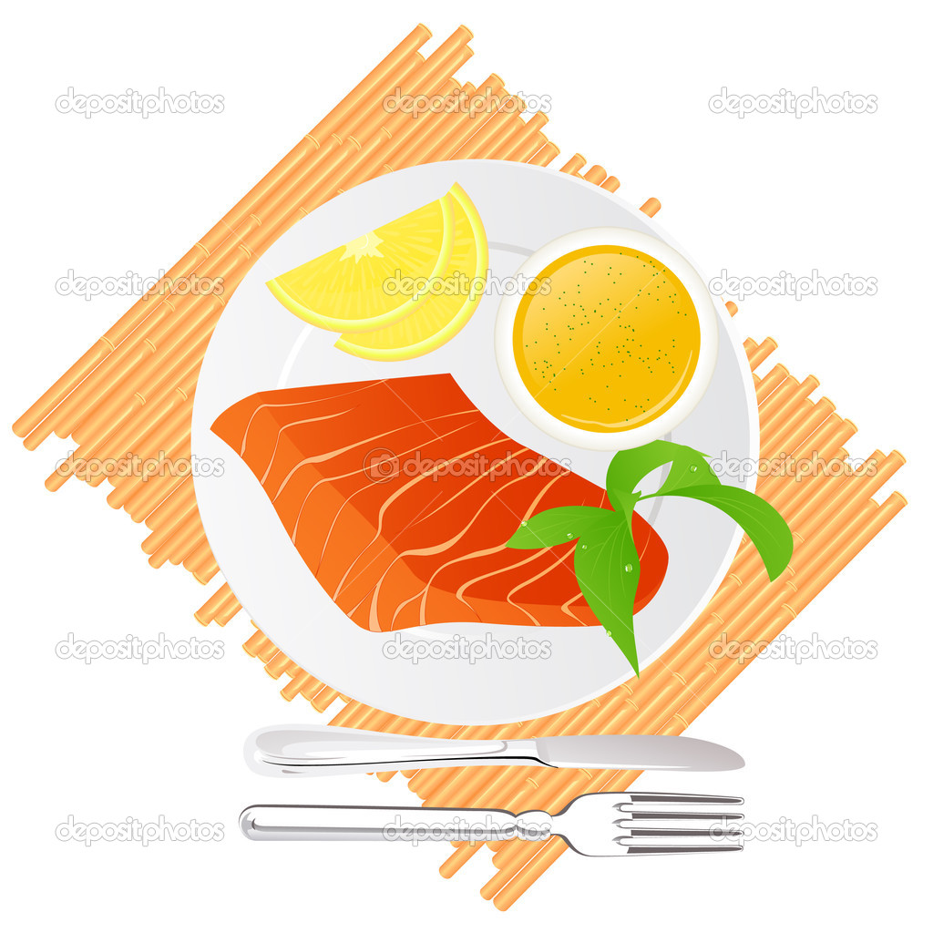 Seafood delicacy, vector illustration — ベクター素材ストック #3609434