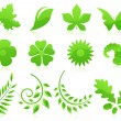 Green leaf icon collection — Stock Vector