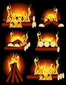 Bonfire collection — Stock Vector